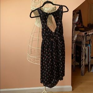 Roxy Babydoll Minidress. Flamingo print.